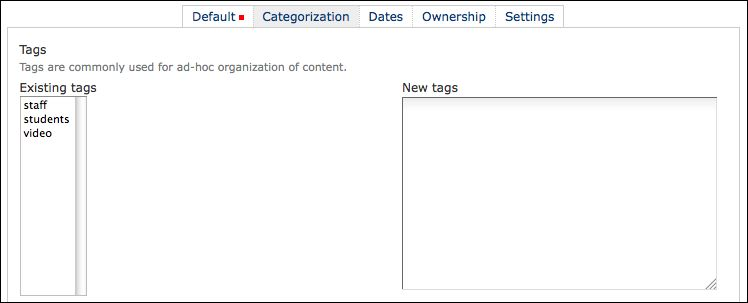 Adding categories to a folder or page