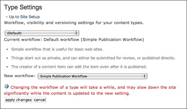 Default screen for setting workflow